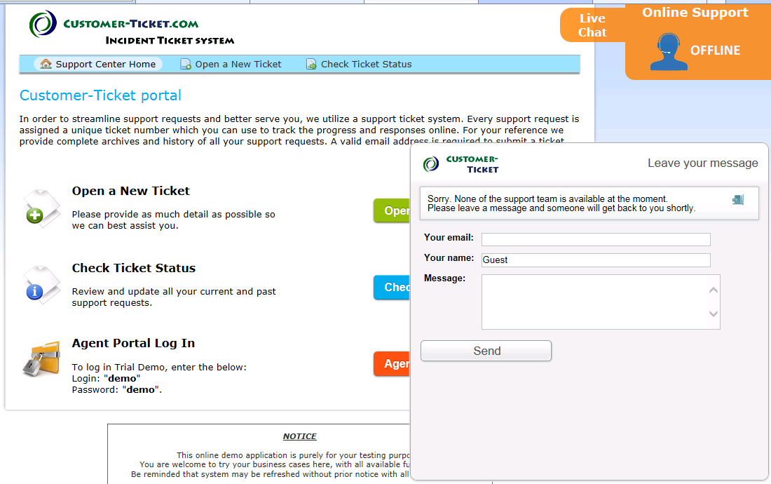 screenshot - ticket helpdesk with live chat when offline