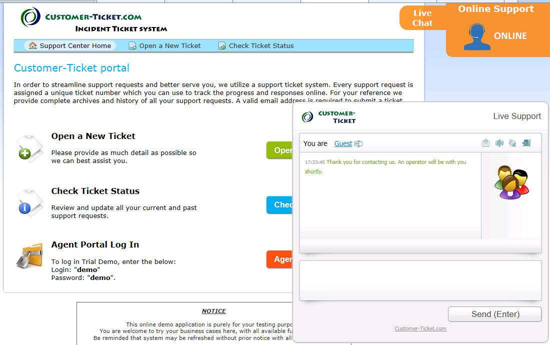 screenshot - ticket helpdesk with live chat when online