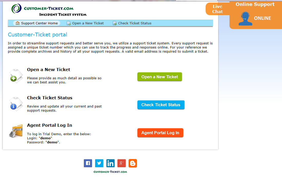 screenshot - ticket helpdesk with live chat