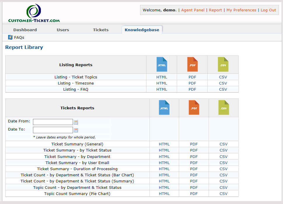 ticket helpdesk report library menu
