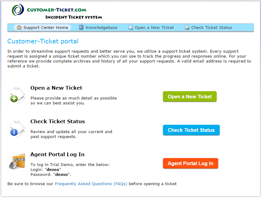 ticket helpdesk screenshot with faq and knowledge base (kb)