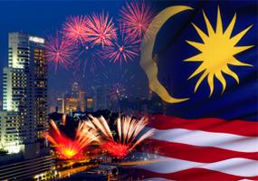 malaysia flag fireworks