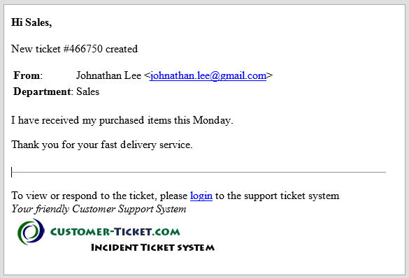 ticket helpdesk email alert for new ticket