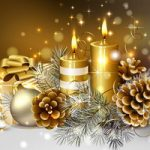 2016 merry christmas with gold candles and white background