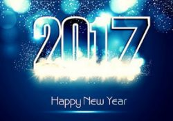 2017 happy new year with blue background