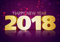 2018 happy new year with golden text