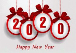 2020 happy new year with red ribbons