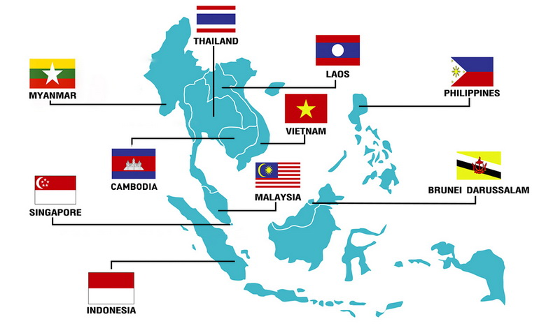 asean region of 10 countries on map