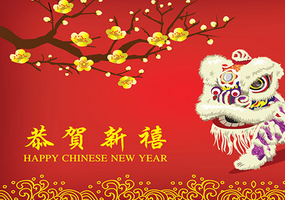chinese new year with lion dance