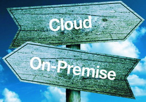 cloud or on-premise in 2 opposite arrows