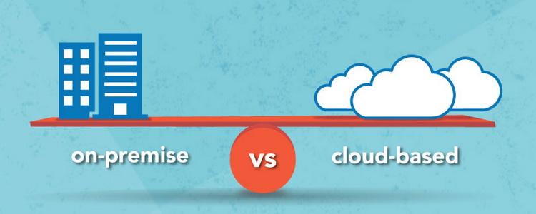 cloud vs on-premise on 2 side of a swing