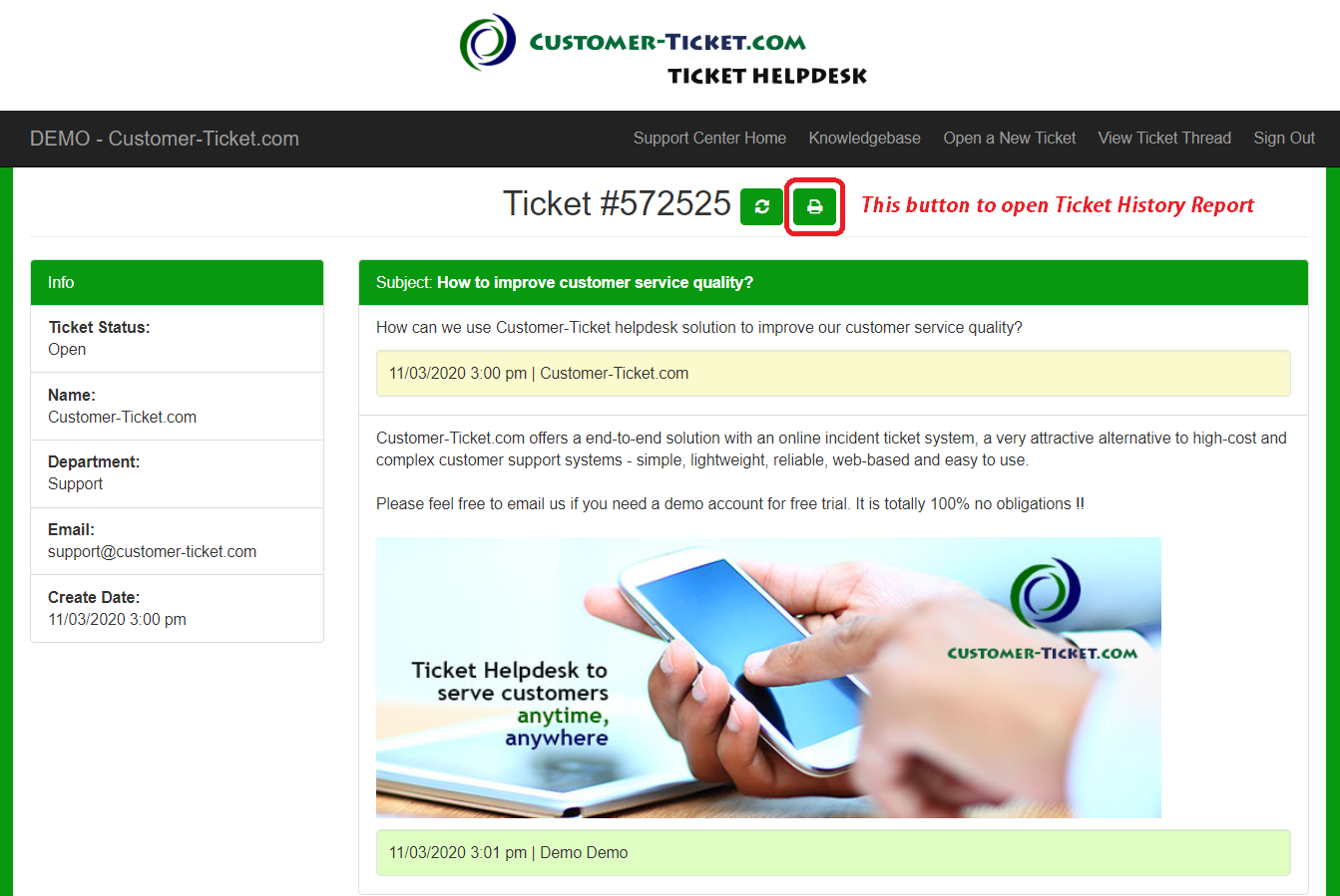 helpdesk system where user check ticket status, remarks highlighted