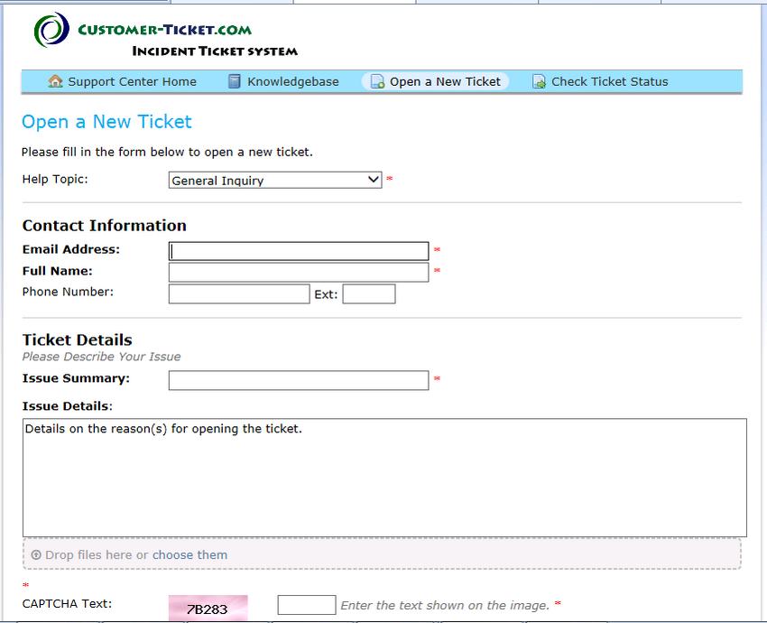 customer-ticket web demo: open new ticket