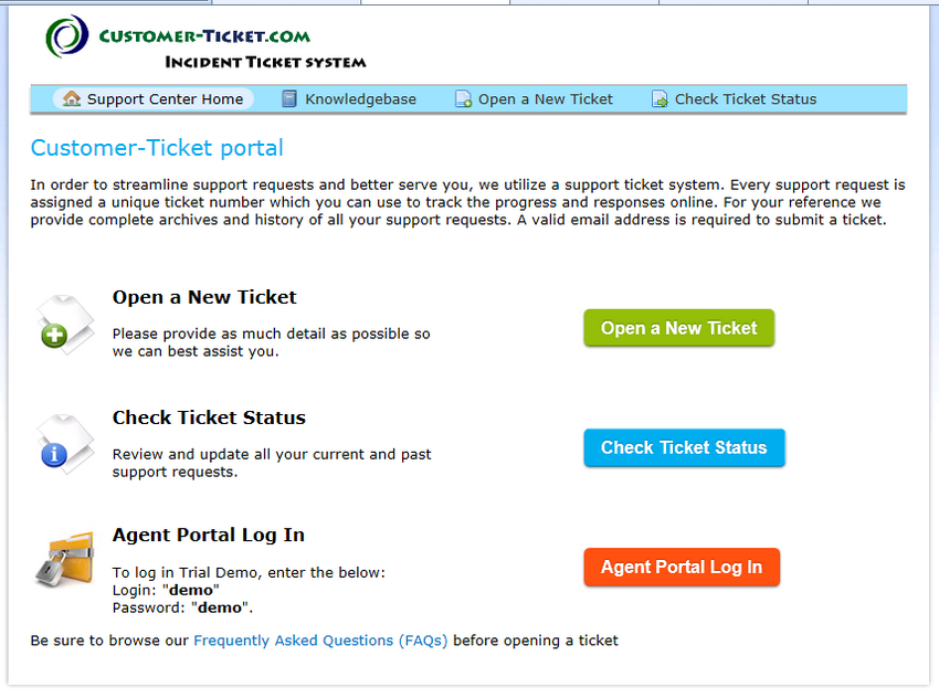 customer-ticket web demo: one-stop portal page