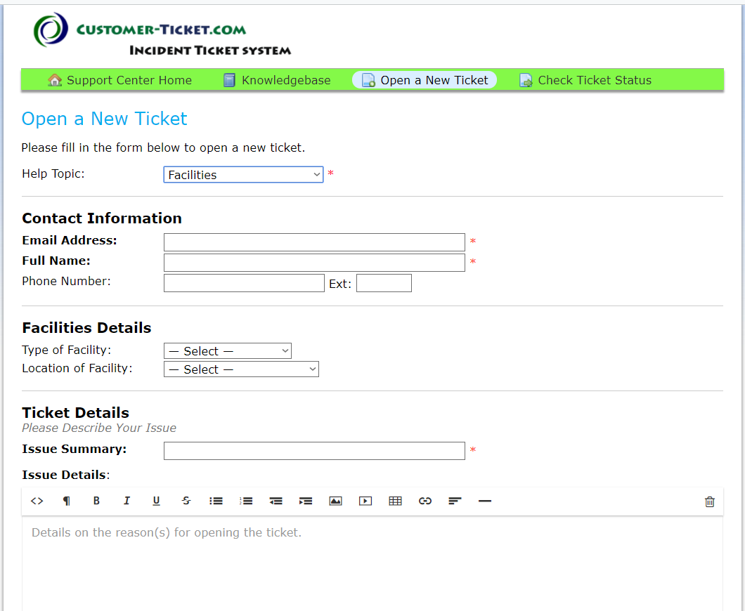 flexible online form for facilities