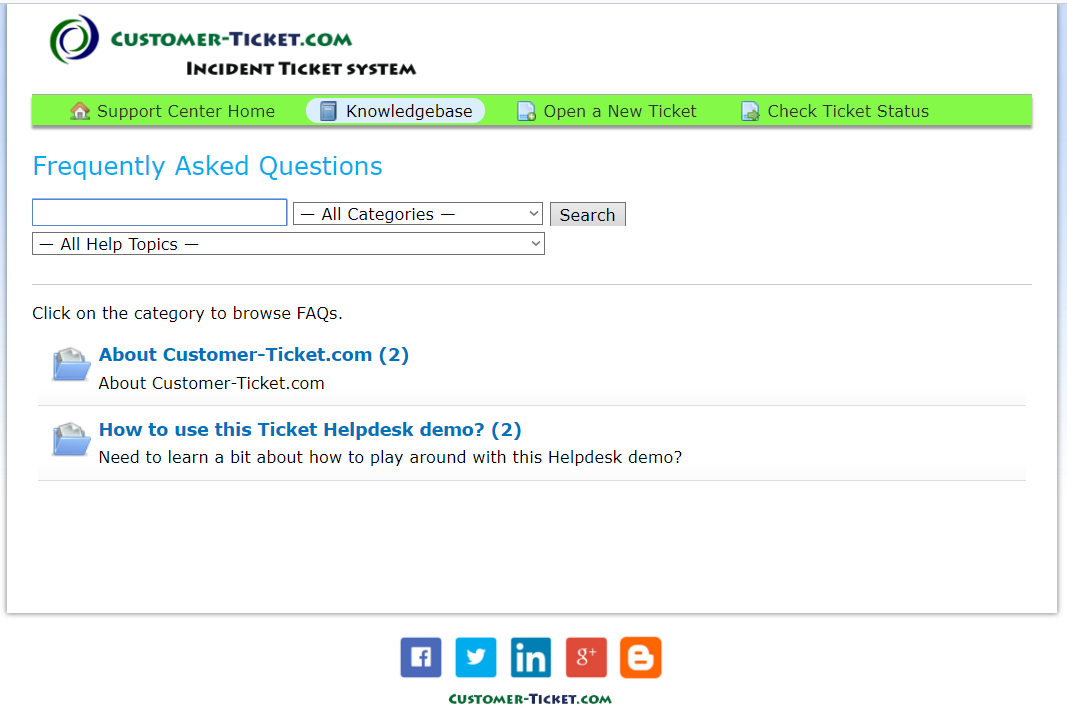 ticket helpdesk knowledgebase listing screen