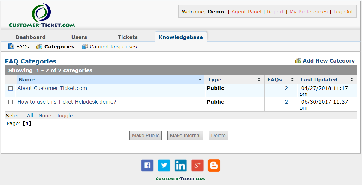 ticket helpdesk knowledgebase setup category
