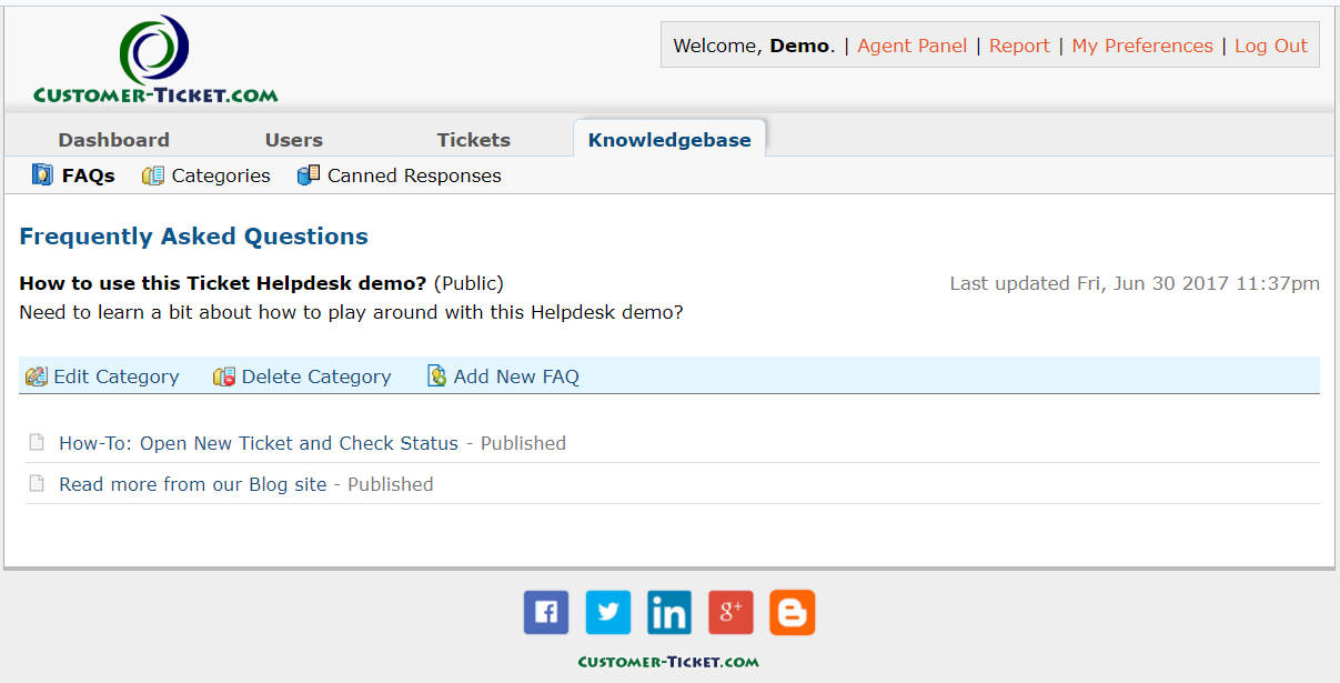 ticket helpdesk knowledgebase setup faq