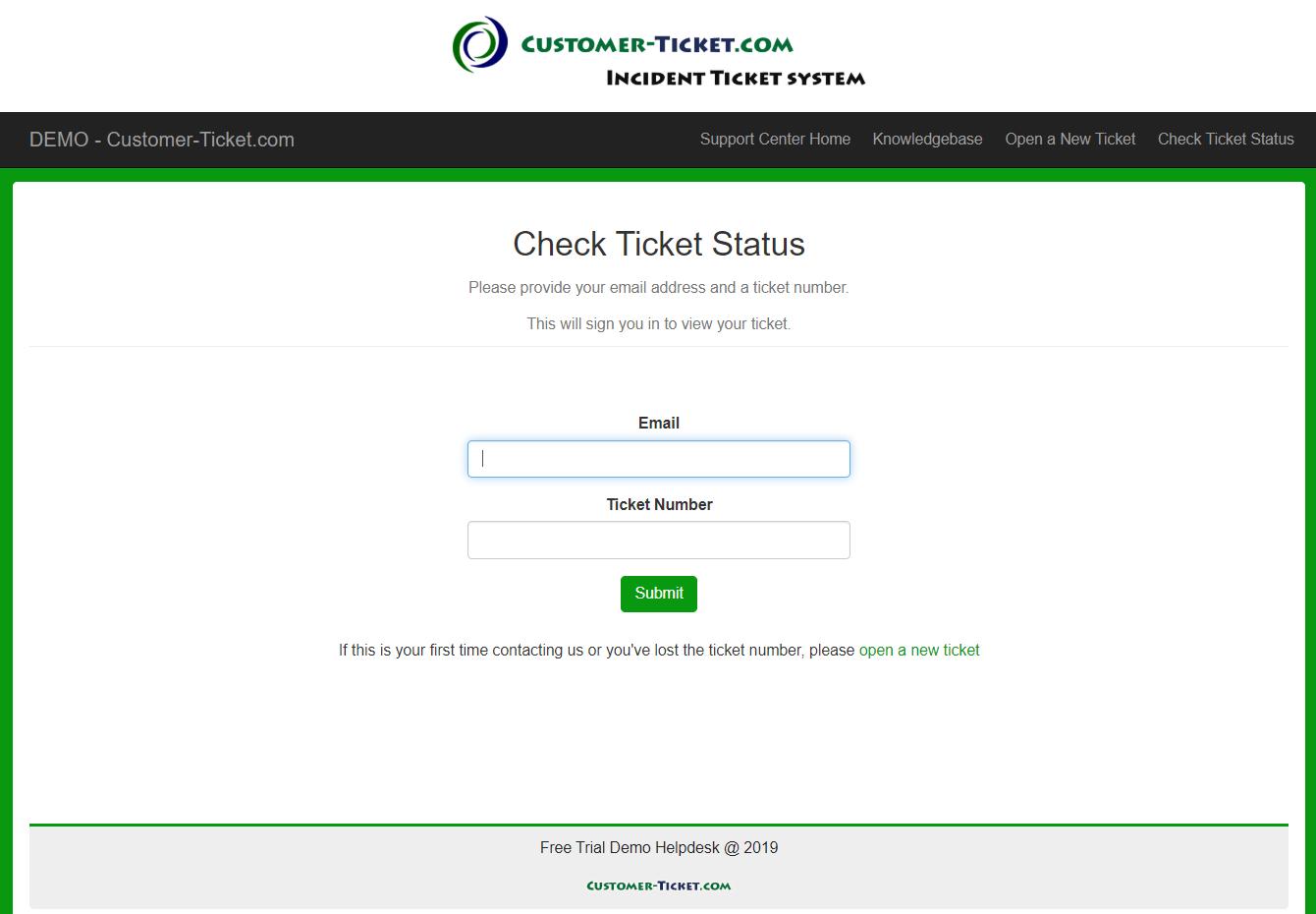 customer-ticket responsive web demo: check ticket status