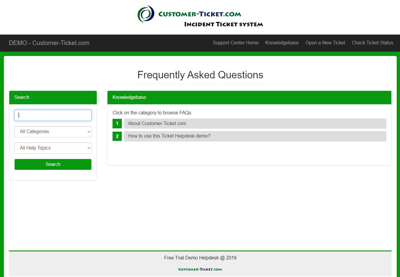 customer-ticket responsive web demo: knowledgebase faq