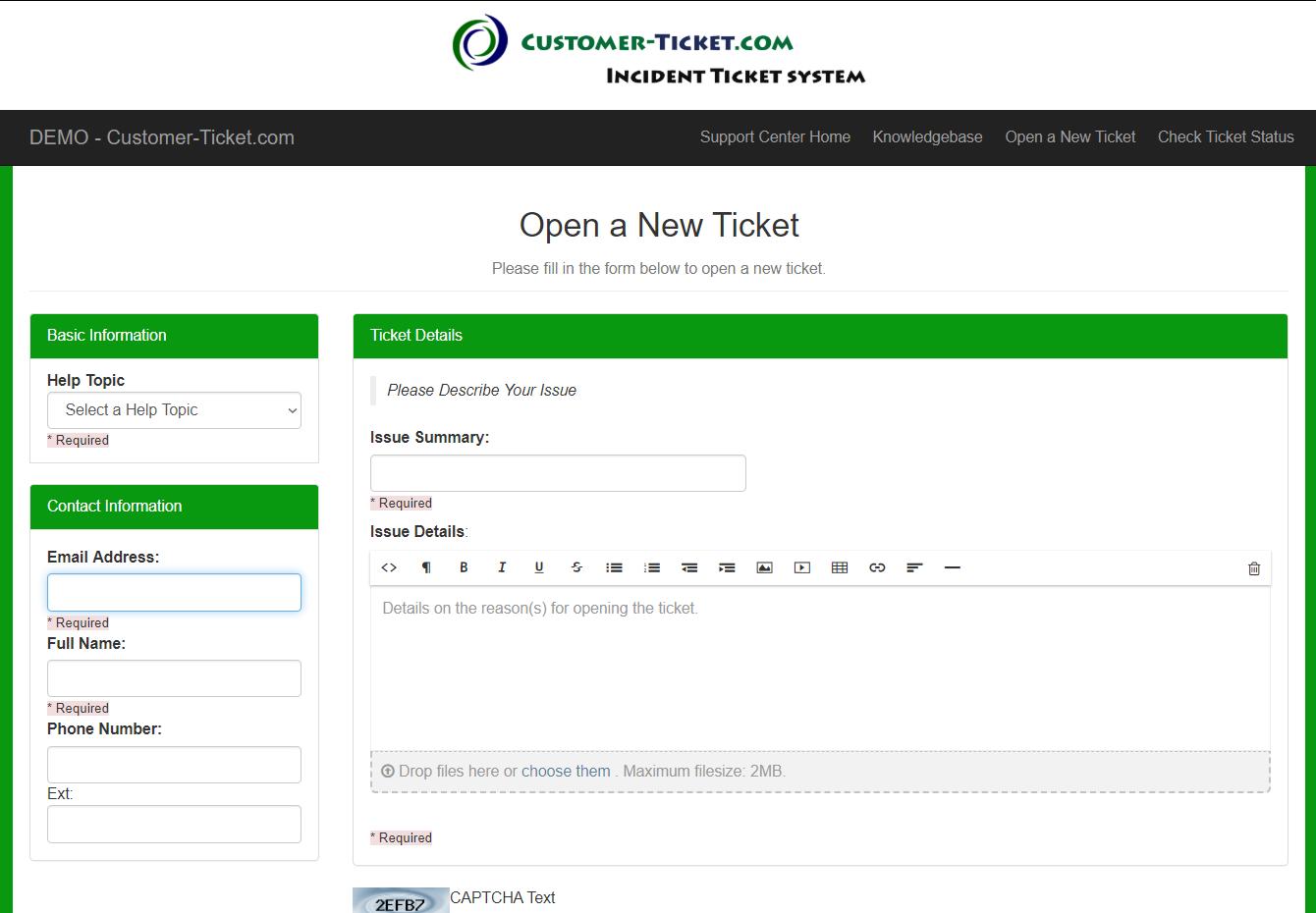 customer-ticket responsive web demo: open new ticket