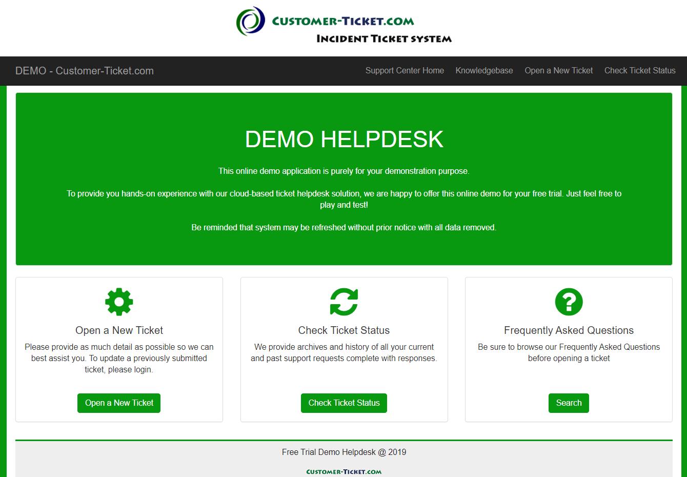 customer-ticket responsive web demo: portal