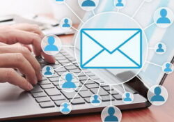 email to many staff on laptop