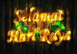 selamat hari raya with golden lights