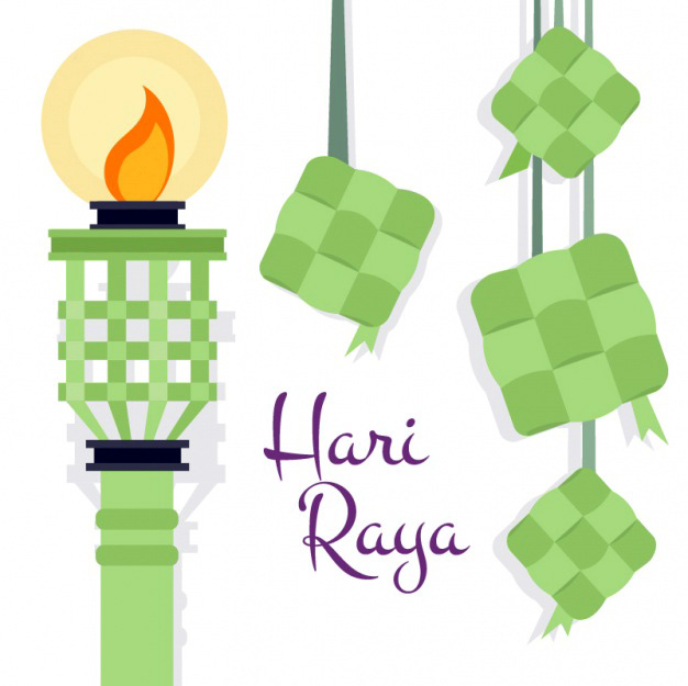 hari raya with torch light