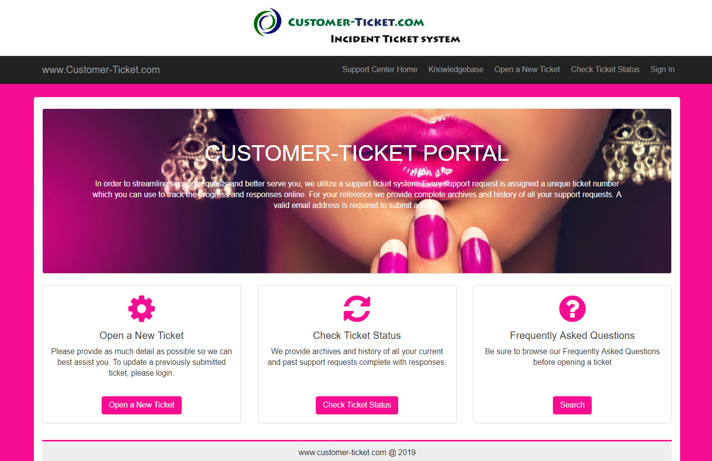helpdesk color theme pink RGB code f70d92 for beauty business