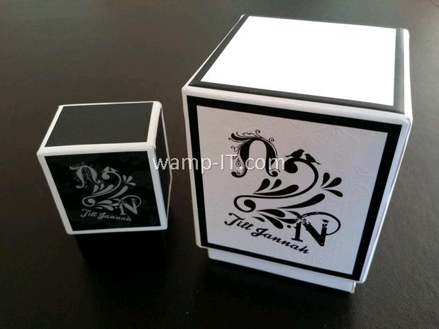 perfume bottle box - white and black