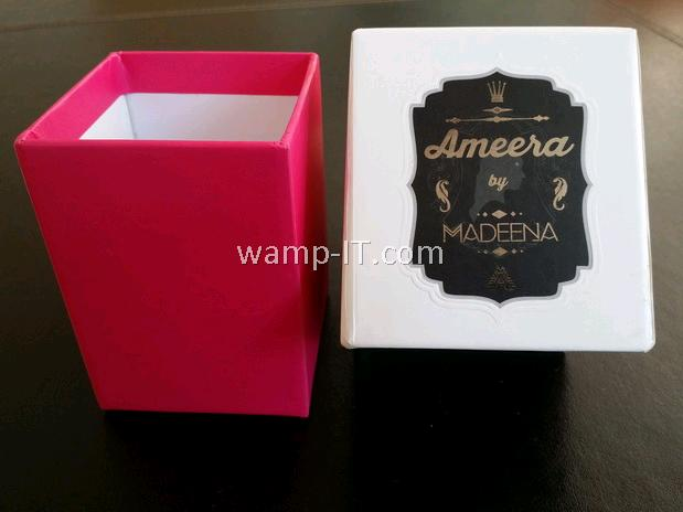perfume bottle box - white and pink
