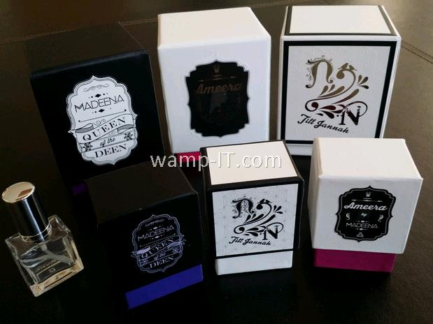 perfume bottle and 6 boxes of various designs