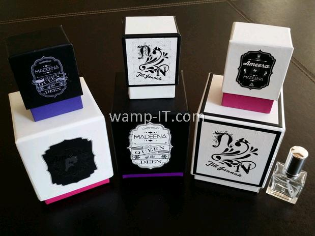 perfume bottle box and 6 boxes of various designs