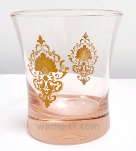 Glass with pad-printed gold color design