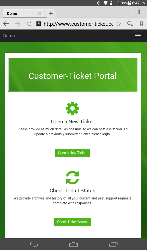 mobile web version of ticket helpdesk portal - main page
