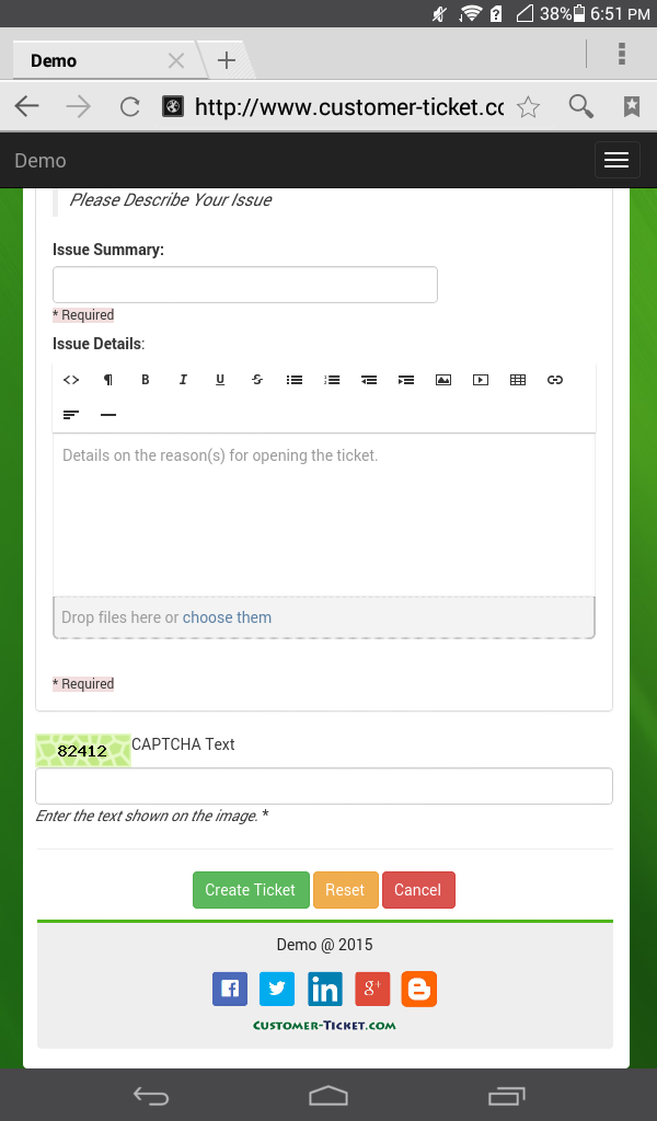 mobile web version of ticket helpdesk portal - open new ticket