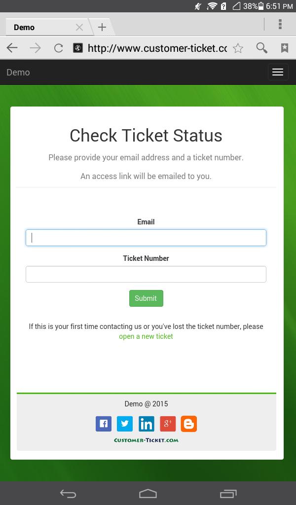 mobile web version of ticket helpdesk portal - check ticket status