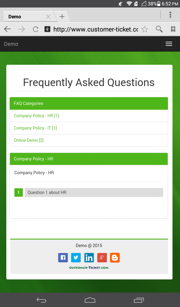 mobile web version of ticket helpdesk portal - frequently asked questions, FAQ category
