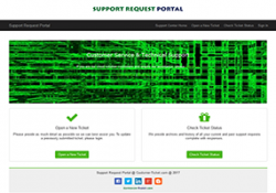 support request portal user interface for mobile device