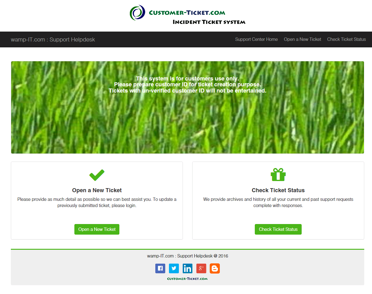 ticket helpdesk responsive web, design theme 1 in desktop view