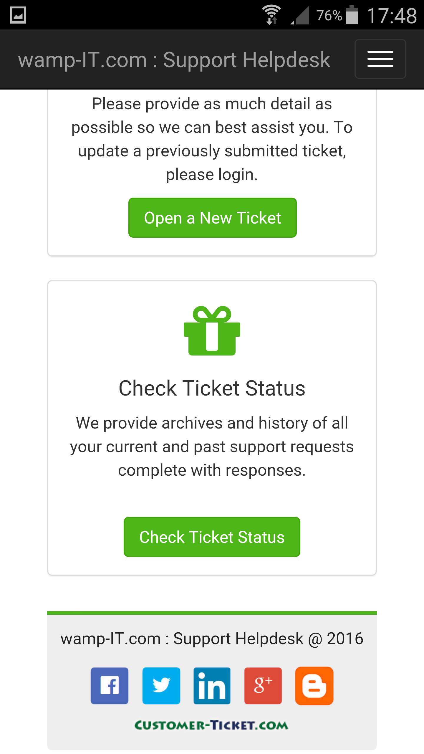ticket helpdesk responsive web, design theme 1 in mobile view