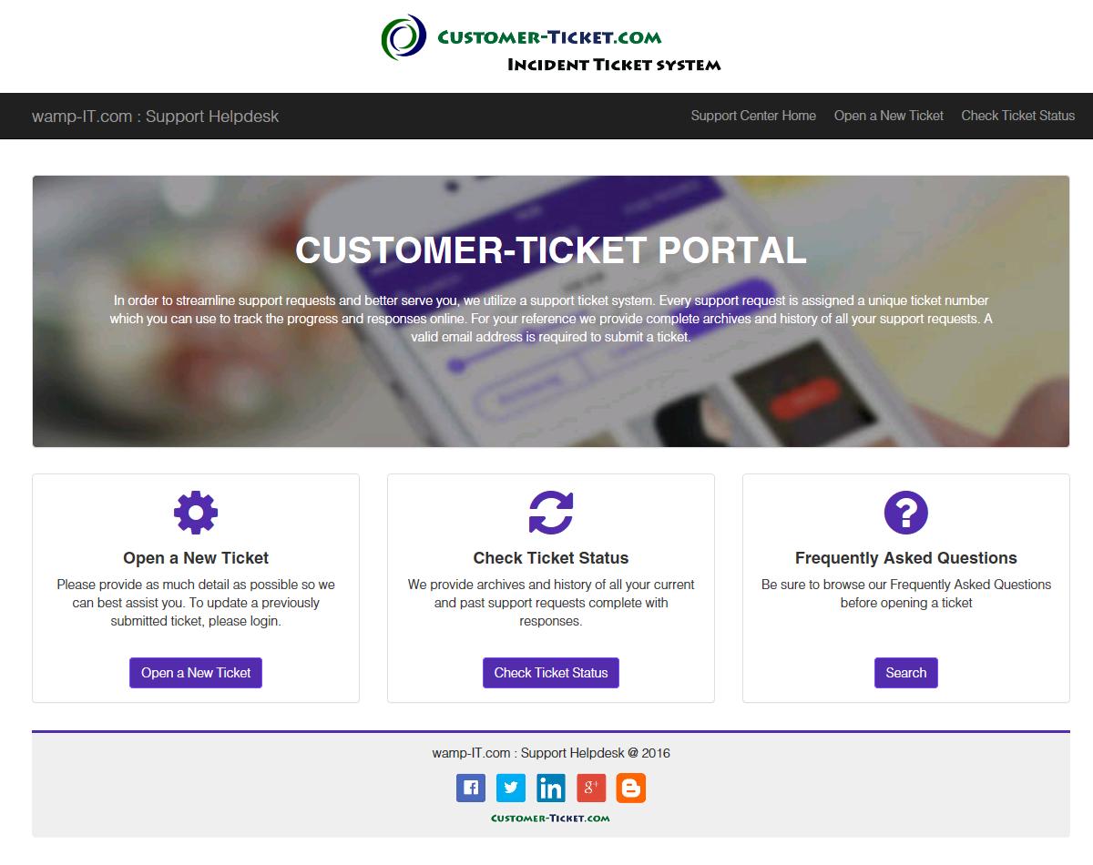 ticket helpdesk responsive web, design theme 2 in desktop view