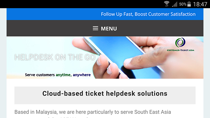 website revamp customer-ticket.com on smartphone, Samsung Note 4