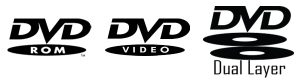 logos of dvd-rom, dvd-video, dvd (dual layer)